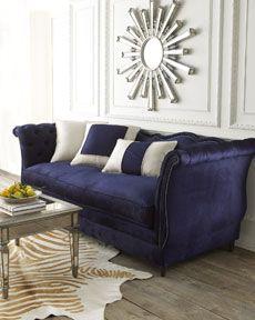 i LOVE navy velvet sofas for some reason....(haute house horton navy velvet sofa, $3399)