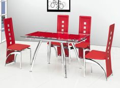 Micha Extendable Red Clear Glass Rectangular Dining Table With 6 Miller Chairs