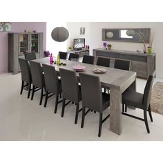 Features: -Modern dining table for 6 persons. -Extendable up to 10 persons. -Chairs are NOT included with this listing. -Particle board, solid oak and veneered oak. Top Finish: -Gray oak. Base F