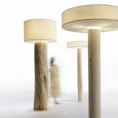 frank lefebvre is the founder and designer behind the french furniture company, bleu nature. Wooden Floor Lamps, Wooden Flooring, Dj Lighting, Lighting Design, Bleu Nature, Driftwood Lamp, Slow Design, Log Furniture, Lamp Design