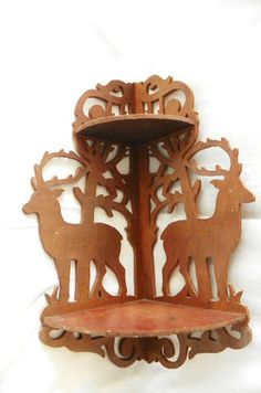 Vtg Wooden Plywood Fretwork Corner Shelf Two Shelves Deer Stag Motif Home Decor | eBay Cnc Spindle, Lazer Cut, Project Ideas, Projects, Scroll Saw, Laser Cutting, Ebay, Crafts, Home Decor