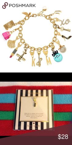 """KATE SPADEInitial """"B"""" Charm for Bracelet NWT From the kate spade """"how charming"""" line, the initial charm """"B"""". Use it for your bracelet, key fob, purse pull, whatever you'd like! 12k gold plated, lobster closure. Price firm :-) (bracelet not included) kate spade Jewelry"""