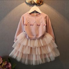 41.34$  Buy here - http://aliscu.worldwells.pw/go.php?t=32747454500 - children clothing sets 2017 new girl winter clothes toplong sleeve pearls bowknot knitted sweater+mesh skirt girls clothes 2-7T 41.34$