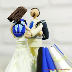 Sky diving Jumping couple custom wedding cake topper decoration. $230.00, via Etsy.