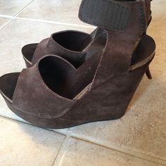 0f7e821bf9 Pedro Garcia Shoes | Pedro Garcia Brown Suede Wedge Sandals 37 | Color:  Brown