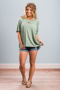 """Set On You Top, Moss Green""We are totally set on this top! It's so causal and comfy! The jersey knit fabric has a lot to do with the comfort but so does the loose cut! #newarrivals #shopthemint"