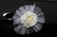 Vehicle door handle corsage idea -  Wedding Vehicle Decorations
