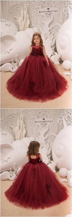 Flower Girl Dress - Birthday Wedding party Bridesmaid Holiday Maroon Lace Flower Girl Dress, Shop plus-sized prom dresses for curvy figures and plus-size party dresses. Ball gowns for prom in plus sizes and short plus-sized prom dresses for Ombre Prom Dresses, Long Prom Gowns, Mermaid Dresses, Bridesmaid Dresses, Lace Flower Girls, Lace Flowers, Flower Girl Dresses, Girls Party Dress, Birthday Dresses