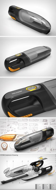 This little concept dustbuster comes with an extendable snout that allows it to clean your Car Vacuum, Handheld Vacuum Cleaner, Industrial Design Sketch, Car Cleaning Hacks, Presentation Design, Design Reference, Vacuums, Cool Designs, Design Inspiration