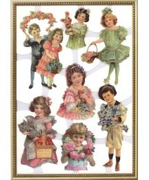 1 Extra Large Sheet of Self-Adhesive Glittered Scraps Featuring Victorian Children  with Roses ~ Holland