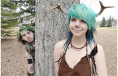 """Zander Herbert, 20, and Willow Simpson, 14, were both sporting antlers in their home made costumes as """"Pan"""" and the """"Deer Goddess"""" during the annual Beltaine Fair for the Wiccan and Pagan community at Ritchie Community Hall over the weekend in Edmonton, Alberta on April 27, 2013."""
