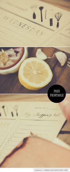Free printable menu planning