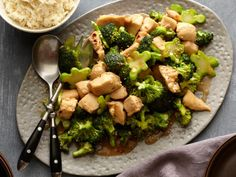 Get Chicken and Broccoli Stir-fry Recipe from Food Network. Fantastic recipe we eat all the time! This is my kids favorite way to eat broccoli! Stir Fry Recipes, Healthy Recipes, Asian Recipes, Healthy Meals, Wok Recipes, Broccoli Recipes, Healthy Chicken, Easy Recipes, Kitchen Recipes