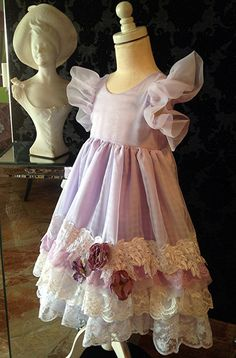 Flower Girl Pale Lavender and white vintage lace embellished dress. Tea Party, pageant dress. birthday dress