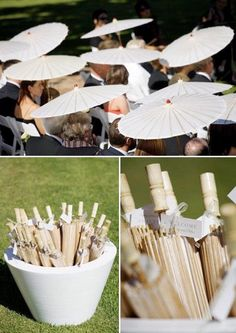Chinese umbrellas at an outdoor wedding.