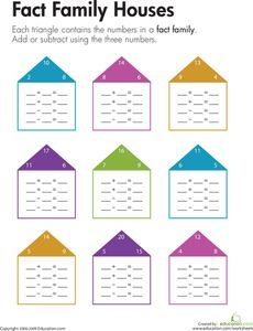 Fact Family Houses - prefer this type activity. I believe cutting and pasting detracts from learning maths concepts for children with fine/gross motor skills. Fact Family Worksheet, Family Houses, Fact Families, Second Grade Math, Free Printable Worksheets, Math Concepts, Gross Motor Skills, Math Facts, Word Problems