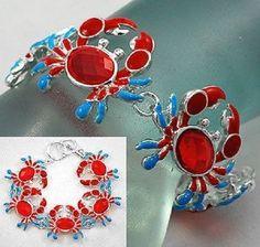 Crab-Bracelet-Blue-Red-Toggle-Jewelry-Carolina-Coast-Maryland-Sea-Cruise-Island