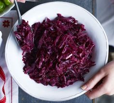 Spice up your Christmas day trimmings with this red cabbage and Bramley apple side, with cinnamon, cardamom and star anise Spiced Red Cabbage, Red Cabbage Recipes, Braised Red Cabbage, Bbc Good Food Recipes, Cooking Recipes, Easy Cooking, Dinner Recipes, Christmas Side Dishes, Christmas Recipes