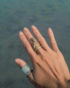 Stacked Sol Blanco & V Rings