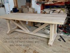 Custom Dining Table in White Oak part of our client cottage reno...CynthiaWeber.com