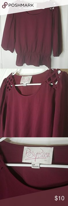 Burgundy cinched waist shirt Cute top for dressing up or down. Lattice shoulders. 3/4 length sleeves. Rory Beca Tops Blouses