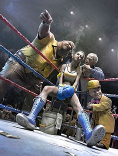 """""""Fight in the dark"""" by Guang Yang (Software used: Maya, MentalRay, Mudbox, ZBrush). I like the artwork done here. Zbrush, Bd Pop Art, Creation Art, Arte Cyberpunk, Boxing Girl, Women Boxing, Poses References, 3d Artwork, Motion Design"""