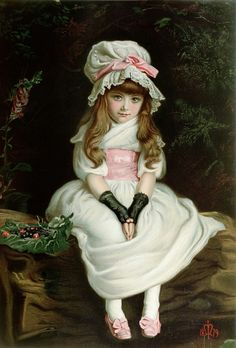 """There is a garden in her face Where roses and white lilies grow; A heav'nly paradise is that place Wherein all pleasant fruits do flow. There cherries grow which none may buy, Till """"Cherry-ripe"""" themselves do cry. The first stanza of Thomas Campion's poem """"There is a Garden in Her Face"""", a paean to a beautiful virginal girl. John Evereth Millais -Cherry Ripe- 1879; so youthinkyoucanseeJohn Everett Millais - Cherry Ripe (1879) soyouthinkyoucansee on tumblr."""