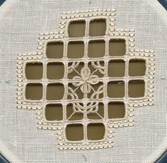 Hardanger Embroidery Campione, reticello in lavorazione 1 - Types Of Embroidery, Embroidery Patterns Free, Embroidery Needles, Doily Patterns, Dress Patterns, Hardanger Embroidery, Cross Stitch Embroidery, Hand Embroidery, Needle Lace