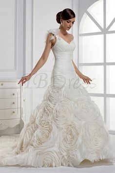 Dramatic Mermaid One-shoulder Floor-length Chapel Train Wedding Dress-I LOVE IT ALMOST AS MUCH AS I LOVE HIM!!!!