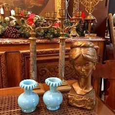Edwardian Era Hand Blown Blue Vases; Victorian Era Marble Column Candelabras; Plaster Lady Bust. #antique #edwardian #victorian #candelabra #blue #vase #bust #theuglyduckling