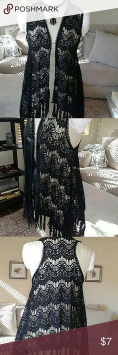 Black Sheer Lace Shrug w/Fringe Hem Lovely black lace shrug • size small • fringe hem • asymmetrical • racerback • EUC • by Charming Charlies Charming Charlie Tops