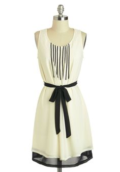 Do Re Meeting Dress - White, Black, Casual, A-line, Tank top (2 thick straps), Mid-length, Belted, Stripes