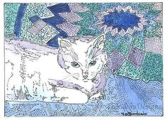 ACEO  Kitty Cat on Blue Quilt Print by Theodora by THEODORADESIGNS, $5.00