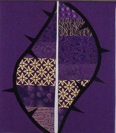 Advent paraments of rayon, cotton, and Ultrasuede.