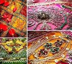 Embroidered fabric from India.