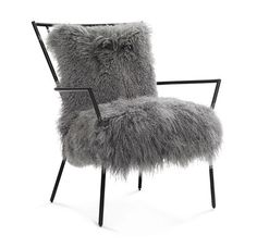 ANSEL CHAIR BLACK - TIBETAN FUR<BR>[available online and in stores]