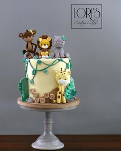 Jungle Birthday Cakes, Jungle Theme Cakes, Animal Birthday Cakes, Baby Boy 1st Birthday Party, Safari Cakes, Custom Birthday Cakes, First Birthday Cakes, Safari Theme, Custom Cakes