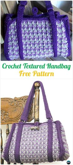 Crochet Textured HandbagTote Free Pattern - #Crochet Handbag Free Patterns