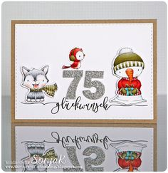 "Geburtstagskarte zum 75. | birthday card celebrating 75 years - Purple Onion Designs ""Blizzard"", ""Silver"", ""Flurry"", danipeuss ""Script-Grüße"", Create A Smile Stamps ""Double Stitched Rectangles"", My Favorite Things ""By the Numbers"", Copics"