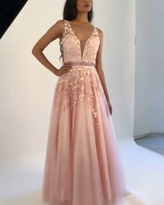 Gorgeous A Line V Neck Floor Length Prom/Evening Dresses with Appliques - Bal de Promo Grad Dresses, Evening Dresses, Short Dresses, Formal Dresses, Peach Prom Dresses, Blush Prom Dress, V Neck Prom Dresses, Maxi Dresses, Fairy Wedding Dress