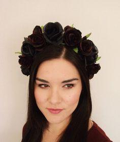 Red Black Rose Flower Crown  floral headband by MissWildFlowers, $38.50
