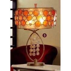 """OK Lighting 28"""" H Table Lamp with Drum Shade"""