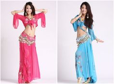 Ladies Sexy Gypsy Belly Dance Dress Costume Top  Skirt  248 Coins Scarf Belt