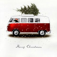 I'm in love with this little Christmas illustration. I've always wanted a VW bus. Merry Little Christmas, Noel Christmas, Vintage Christmas Cards, Christmas Pictures, Winter Christmas, Christmas Countdown, Best Christmas Cards, Merry Xmas, Christmas Cookies