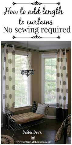 No need to buy custom length draperies with this no-sew trick! HomeGoods and a little DIY create a winning combination! #homegoodshappy #debbiedoos