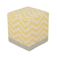Yellow and gray chevron pouf - Add a pop of subtle color and pattern to your neutral nursery design with this great chevron ottoman.