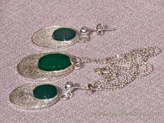 Sude1 Green Agate filigree Jewellery Set Necklace by gejewellery