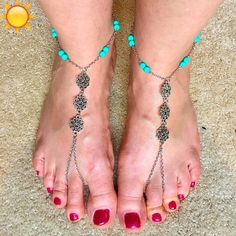 """❗️SHIP DELAY❗️Silver Flower Turquoise Toe Anklets Dress your feet in these fun & flirty toe anklets. Enjoy wearing these anklets as beach """"sandals"""". Can be worn with or without shoes and have clasp fastener with extender.  Silver chain with silver flowers and turquois beads - Pair of two anklets.  NEW in package. Summer Lovin  Jewelry"""