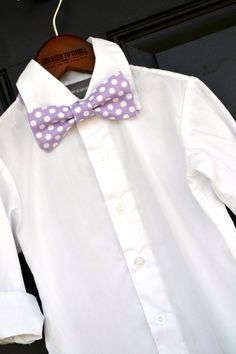 Light Purple Polka dot Easter Bowtie for baby / toddler / little boy / child.  Handmade in Texas by Dressed to Thrill, specializing in ties, bowties, and suspenders for the sweet and stylish.  www.idresstothrill.com
