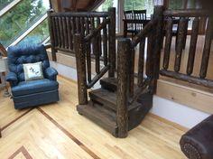 Hand hewn cedar log railing
